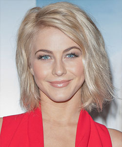 Julianne Hough with wavy style and tousled effect style in blonde