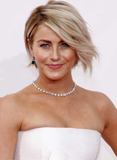 Longer fringe, effortless hairstyle in white dress