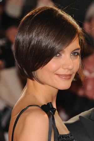 Katie Holmes with asymmetric bob haircut