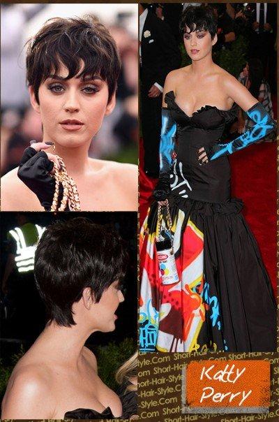 katy Perry with dark short hair