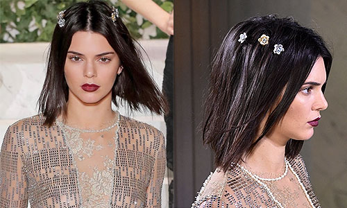 kendall jenner with decorative amll hair pins