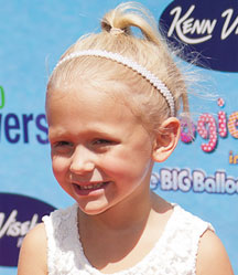 little blonde girl hair style with ponytail and headband