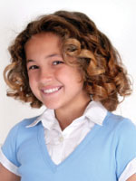 kid with spiral curly hair style