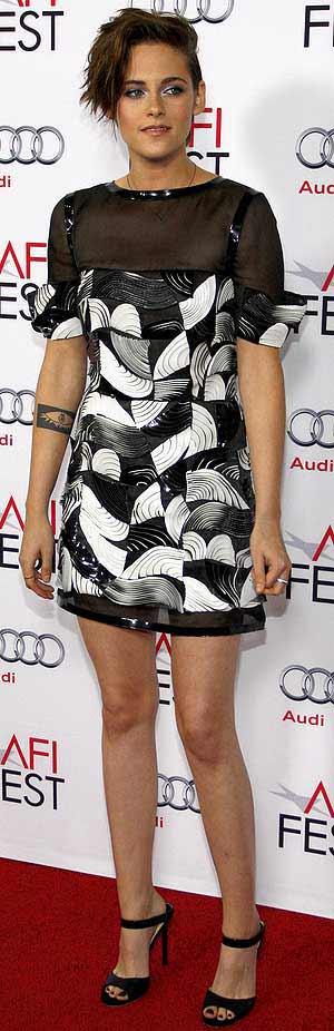 Kristen Stewart wearing hot-off-the-runway sheer-topped dress from Chanel