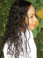 Long curly hair side view