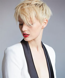 Louise with platinum blonde pixie
