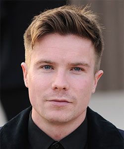 Joe Dempsie with side shaved haircut and longer layers on top - London 2013