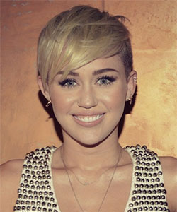 Miley Cyrus haircut with side bangs