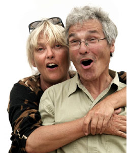 old woman and man with gray hair