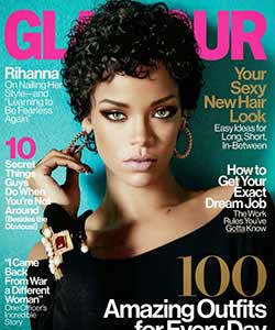 rihanna with short curly hair on Glamour Magazine US 2013, november issue