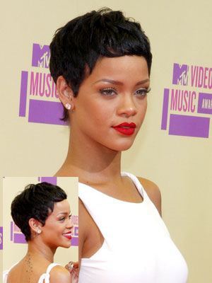 Rihanna with pixie style and dark hair
