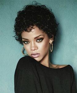Rihanna with short curly hair,  fall 2013