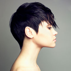short black hair color chuncky fringe - side view