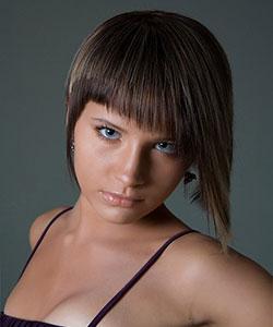 short hair model with angled bangs