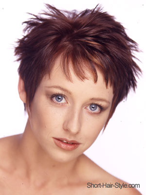 dark red brunette with spiky texture haircut