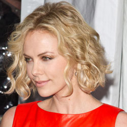 Charlize Theron short wavy hair side view