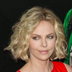 Charlize Theron short wavy hair front view
