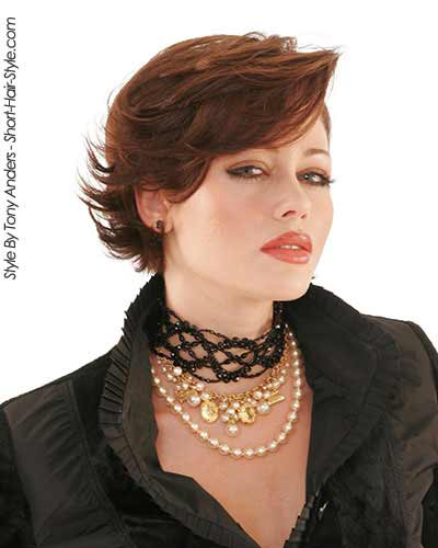 red hair with wavy hair in wedge bob haircut style