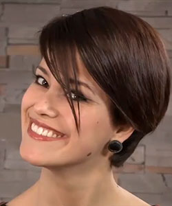 sleek side bangs style from side view