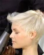 blow dry hair using round brush