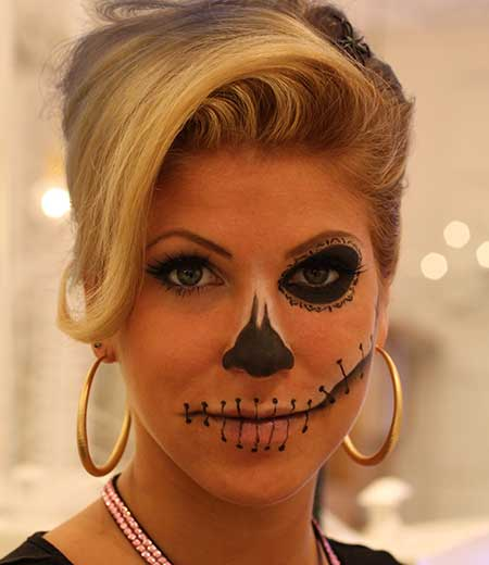 Simple Sugar Skull Makeup with stylish updo
