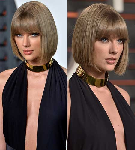 taylor swift with smooth sleek bob and full bangs