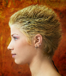 hair model with very short spiky hair golden color in side view