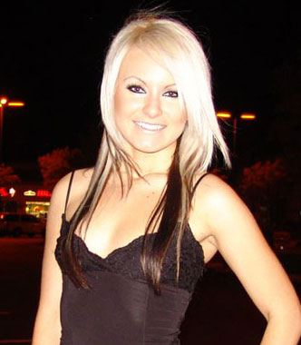 Danielle- Brown underneath, died blond and blonde extensions.