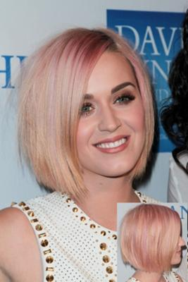 bob hair style blond with hint of pink
