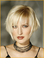 razor cut bob hair style with texture