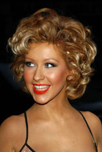 Christina Aguilera with short curly hairstyle