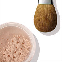 mineral foundation and brush