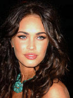 Megan Fox with Dark hair color tan fair skin