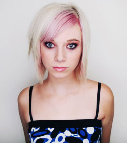 Short hair with platinum blond and pink highlight
