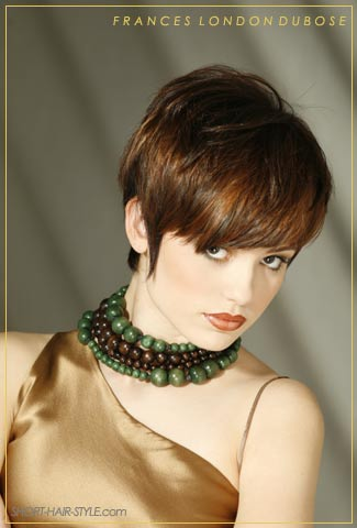Short crop hairstyle in brunette hair color