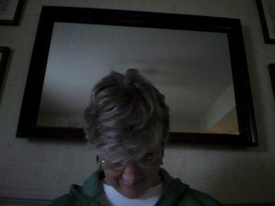 What my hair looks like now.  Leftover blonde highlights on bangs.