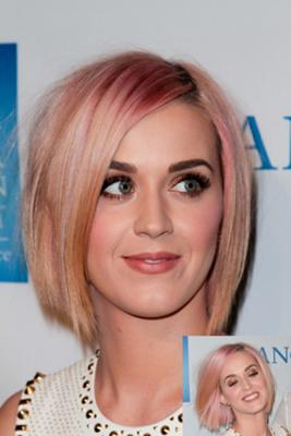 Katy Perry with blond and pink bob