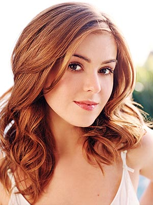 Isla Fisher with red colour
